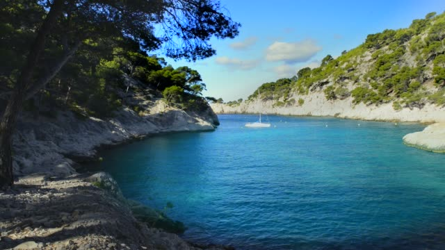 calanque  of Cassis Calanques of Port Pin in Cassis in France near Marseille provence alpes cote d'azur stock videos & royalty-free footage
