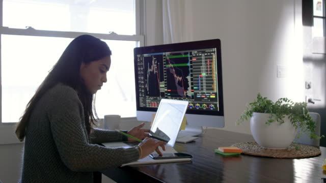 vídeos de stock e filmes b-roll de calculating stock market gains - comercializar