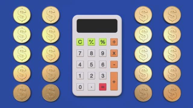 calculator cartoon style 3d rendering flat lay scene business finance education mathematics