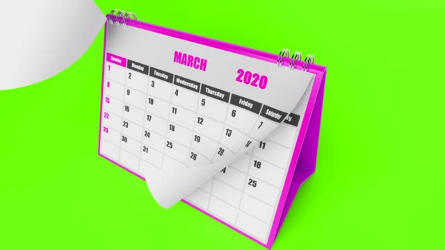 Calendar 2020 Year On Green Background