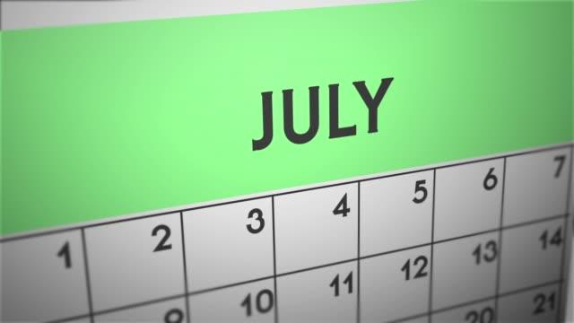 profondità di panoramica 2d del calendario - luglio - luglio video stock e b–roll