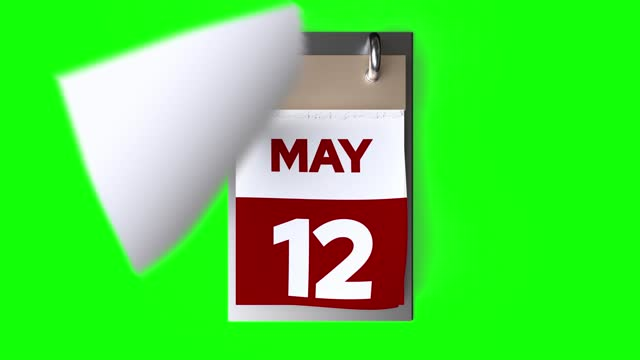 Calendar Animation, May Month, New Year Calendar on Green Background