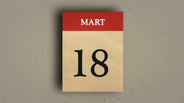 Calendar (18 mart) Animation. Calendar (18 mart) Animation. çanakkale province stock videos & royalty-free footage