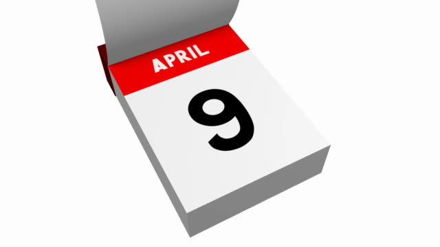 3D calendar - April 3D calendar on white background (white and red paper pages turning) - April. april stock videos & royalty-free footage