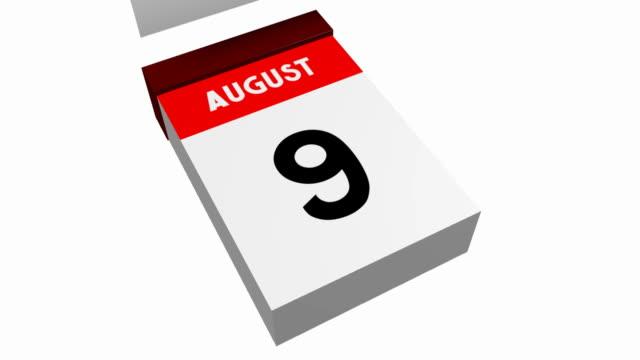 3d calendar - august - data scritta video stock e b–roll