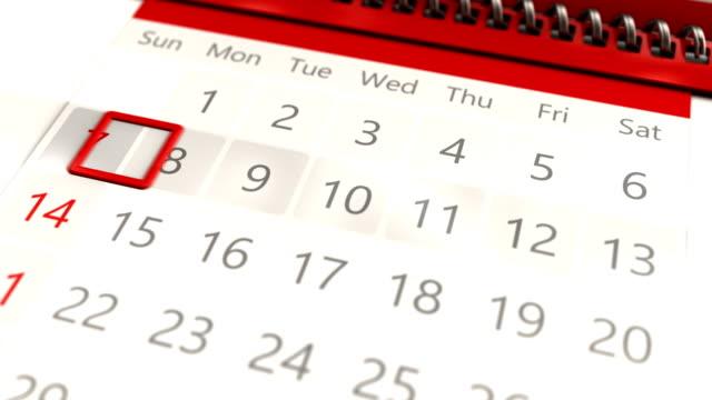 zbliżenie kalendarza - miesiąc filmów i materiałów b-roll