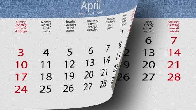 flippare pagine, calendario, texture, partite 2016 - 2016 video stock e b–roll
