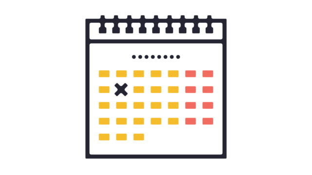 vídeos de stock e filmes b-roll de calendar icon animation - mês