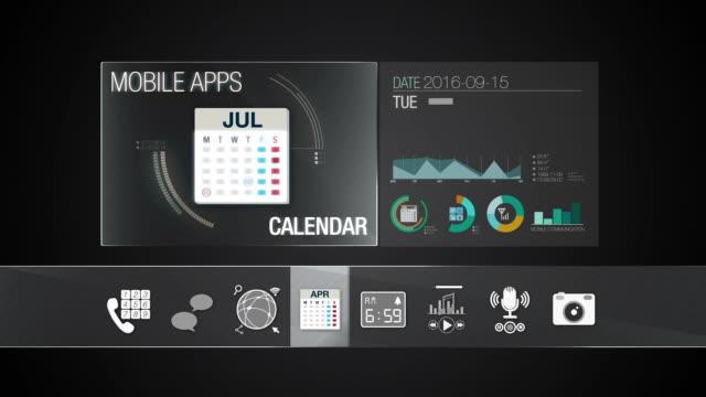 kalender-symbol für mobile anwendung contents.various anwendung funktion für smart device.digital die anwendung. - kalender icon stock-videos und b-roll-filmmaterial