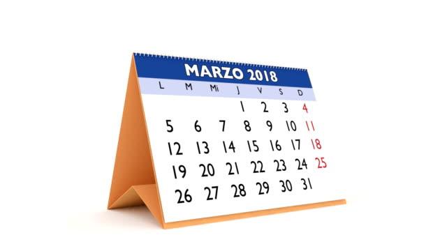 2018 Calendar in spanish video