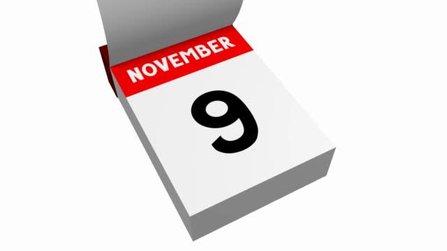 3d calendar - november - ноябрь стоковые видео и кадры b-roll