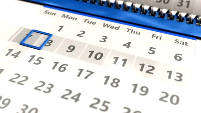 calendar page closeup