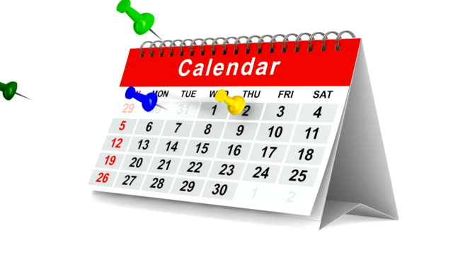 Calendar with pins on white background. 3D render video
