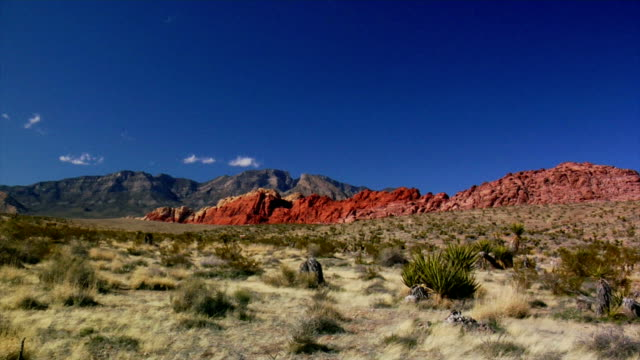 calico basin ampia panoramica a destra - red rock canyon national conservation area video stock e b–roll