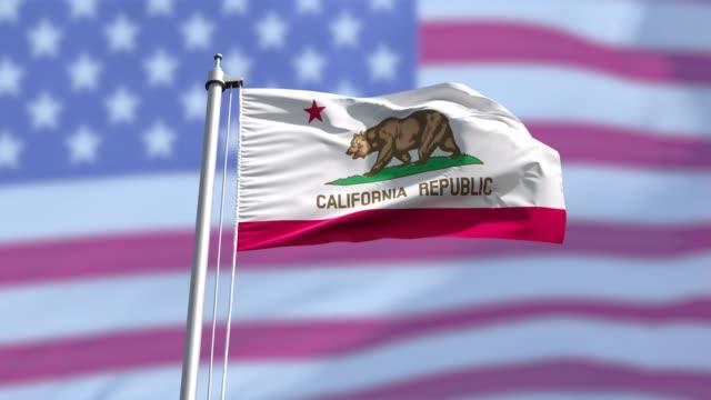 California flag and the USA flag background on a flagpole.