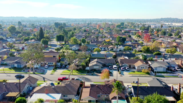 California Homes Flyover California suburbs from a drone point of view. residential building stock videos & royalty-free footage