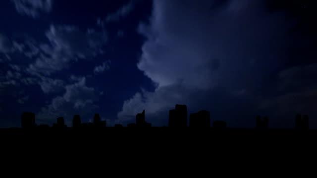 California Sacramento skyline night storm video