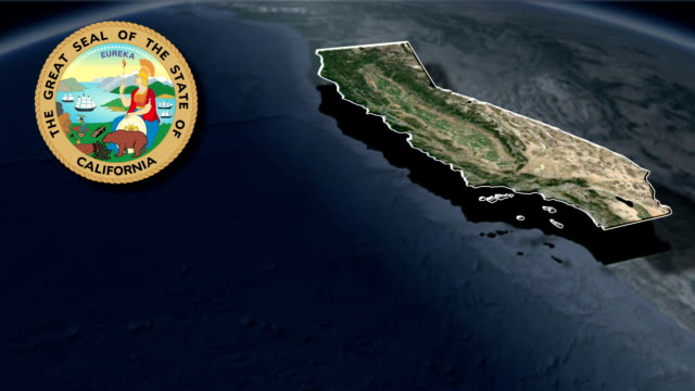California Seal and animation map Political divisions of the United States california map stock videos & royalty-free footage