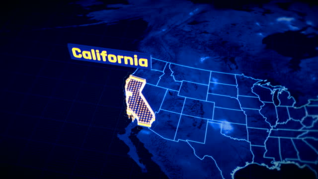 US California state border 3D visualization, modern map outline, travel US California state border 3D visualization, modern map outline, travel california map stock videos & royalty-free footage
