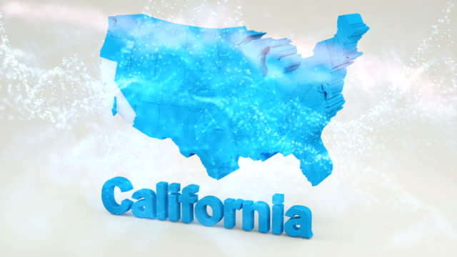 3D California State USA 3D California State USA california map stock videos & royalty-free footage