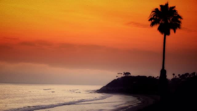 California sunset aged film video