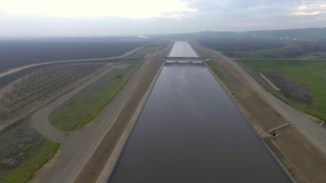 AERIAL California Water Aqueduct Drought