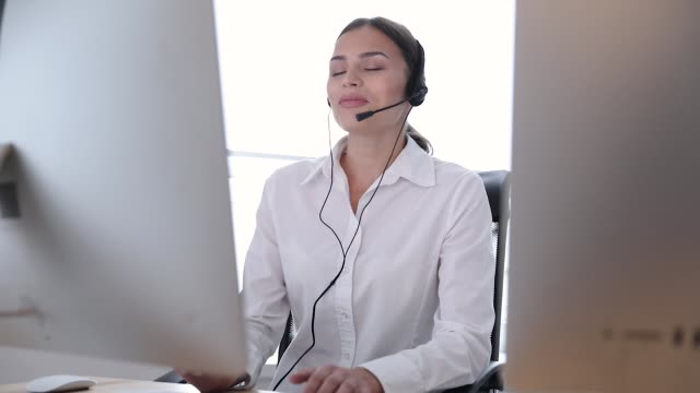 Call Center. Woman Operator In Headset On Hotline Support