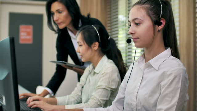 Call center working using a headset
