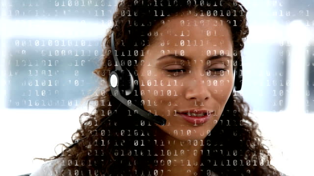 Call centre agent happily talking to a client