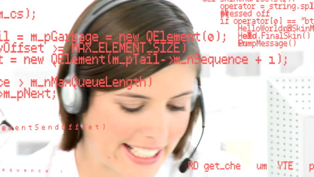 Call centre agent talking on a headset