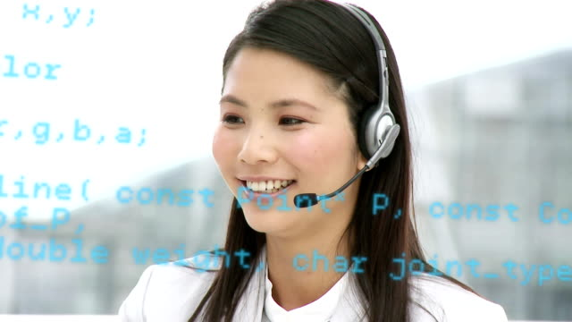 Call centre agent talking to a client