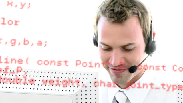 Call centre agent talking while typing