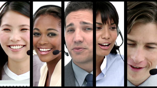 Call centre employees at work Digital montage of Call centre employees at work call centre videos stock videos & royalty-free footage