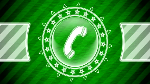 Call icon in circle shape and green striped background. Illustration. Looping footage. website design stock videos & royalty-free footage