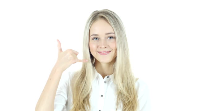 Call me Gesture by Woman, help line, White Background video