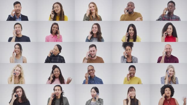 Call someone and make their day Composite 4k video footage of young people using their mobile phones against a grey background multiple image stock videos & royalty-free footage