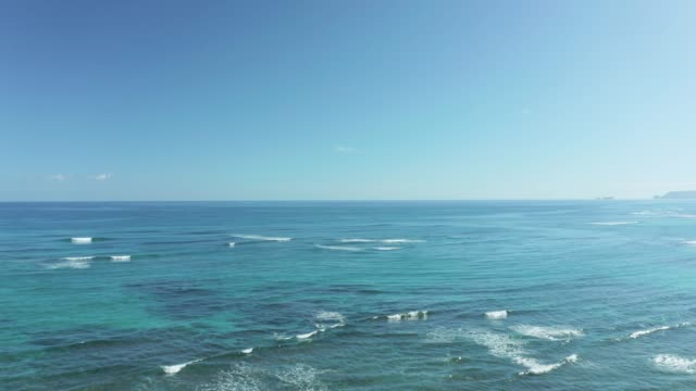 Calm blue water and waves on east coast of Oahu - video