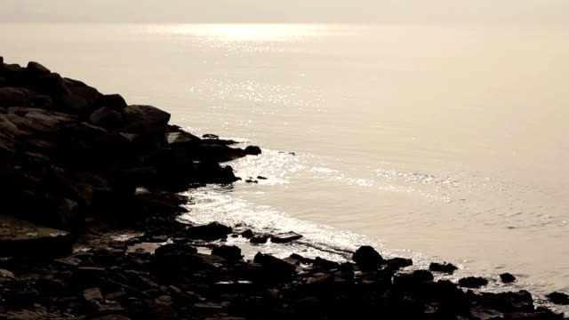 Calm sea with rocks video
