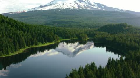 antenna superficie calma di un lago nella foresta che riflette il bellissimo monte hood sullo sfondo - composizione orizzontale video stock e b–roll