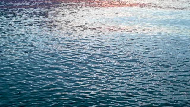 calming wave movement in the beautiful evening light. - спокойная вода стоковые видео и кадры b-roll