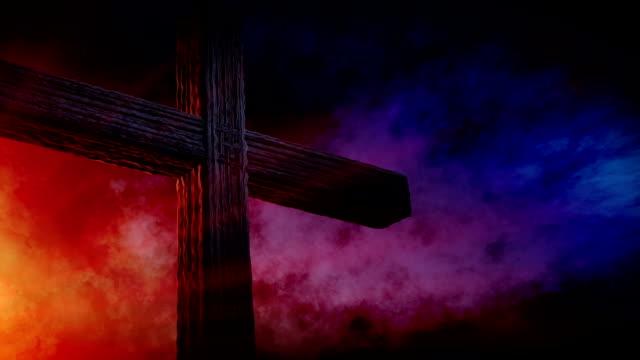 Calvary cross of christ and sun rising sky video