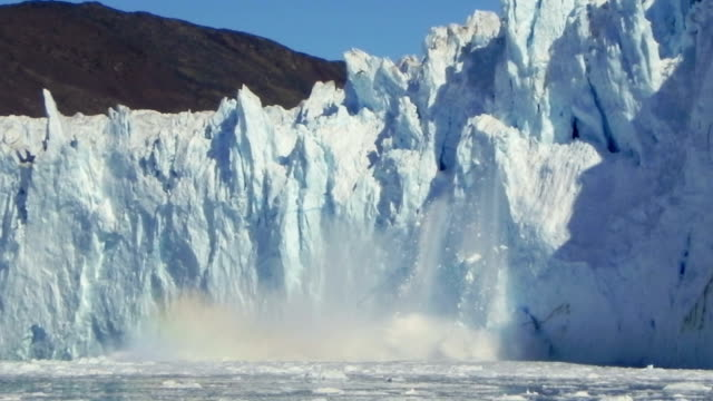 calving glacier at ice edge greenland ice sheet ends in the polar ocean ice stock videos & royalty-free footage