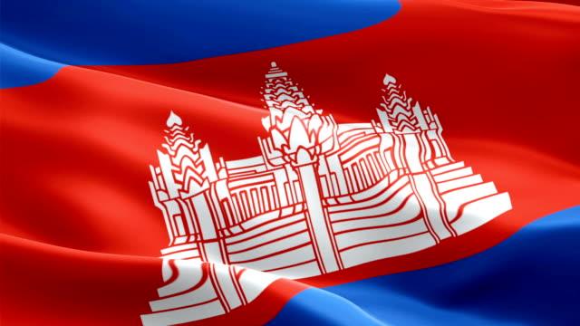 cambodia flag motion loop video waving in wind. realistic cambodian flag background. siem reap cambodia flag looping closeup 1080p full hd 1920x1080 footage. cambodia asia country flags footage video for film,news - kiss filmów i materiałów b-roll
