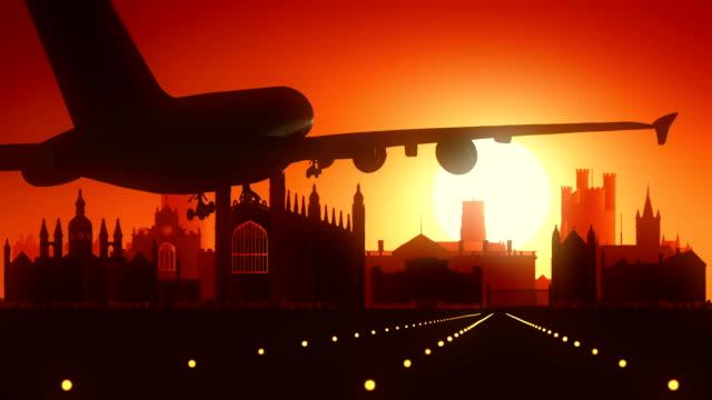 Cambridge Airplane Landing Skyline Golden Background video