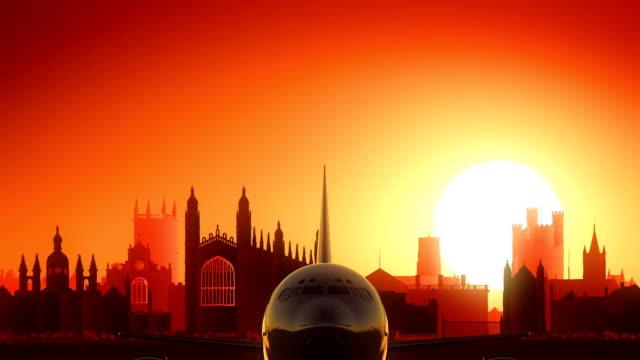 Cambridge Airplane Take Off Skyline Golden Background video