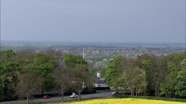 Cambridge American Cemetery  - Aerial View - England, Cambridgeshire, South Cambridgeshire District, United Kingdom video
