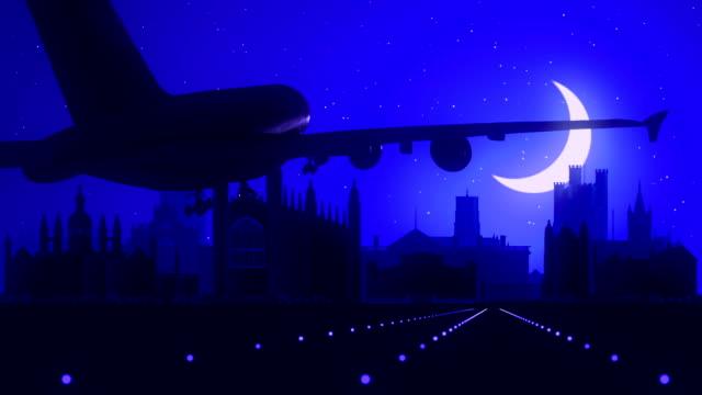 Cambridge England Blue Landing Skyline Midnight Background video