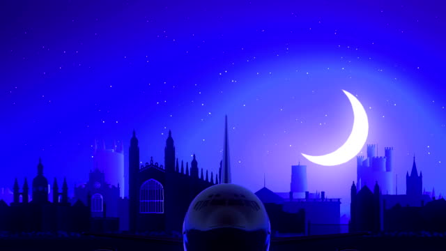 Cambridge England United Kingdom Airplane Take Off Moon Night Blue Skyline Travel video