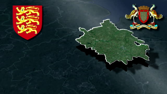 Cambridgeshire white Coat of arms animation map video