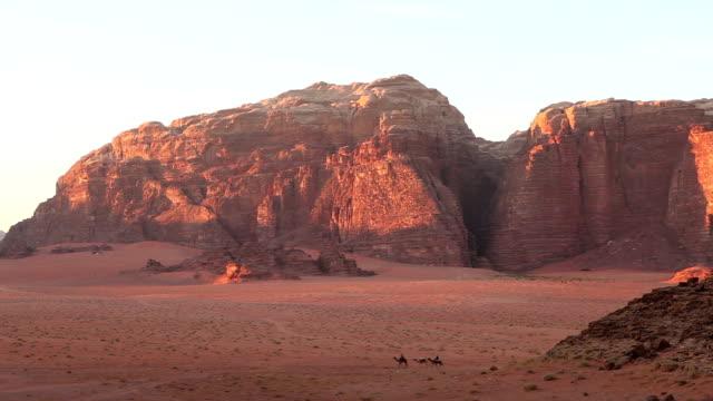 stockvideo's en b-roll-footage met bedoeïenen, kamelen, wadi rum, vallei van de maan - maasvallei